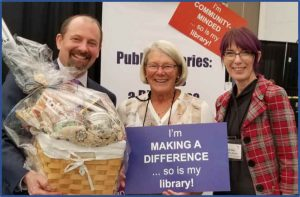 Councillor Thicke with Fraser Valley Regional Library CEO Scott Hargrove and BCLTA ED Babs Kelly